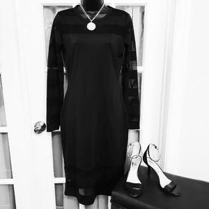 Michael Kors Black Mesh Band Sweater Dress NWOT